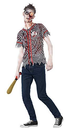 Smiffys, Teenager Jungen Zombie-Baseballspieler, Oberteil, Augenklappe und wattierter Schläger, Größe: S, 44334