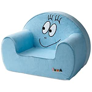 Barbapapa fauteuil club velours bleu blanc amazon for Fauteuil auto bebe