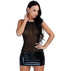 iEFiEL Mini Vestido Corto de Malla Lencería Llamativa para Mujer Falda de Charol Cuello Halter Transparente