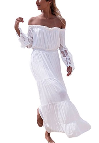 Sommerkleider Damen Lang Festlich Elegant Rückenfrei Schulterfrei Langarm Bandeau Boot Hals Mit Spitze Strandkleider Vintage Hippie Strand Schick Lässig Kleider Weiß -