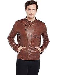 Bareskin Men's Side Zip Double button Collar Tan Leather Jacket