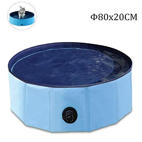 Hunde Planschbecken,Doggy Pool Faltbarer Badewanne Pool,Haustier-Duschbecken mit,Hundeplanschbecken mit Ablassventil,Haustiere Badewanne,Umweltfreundlichem PVC rutschfest,(80x20CM)
