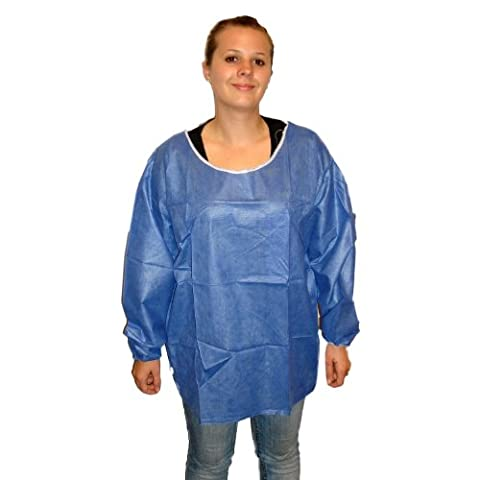 Enviroguard Soft Scrub Long Sleeve Shirt, Disposable, Elastic Wrists, Denim Blue, X-Large (Case of 50) by Enviroguard