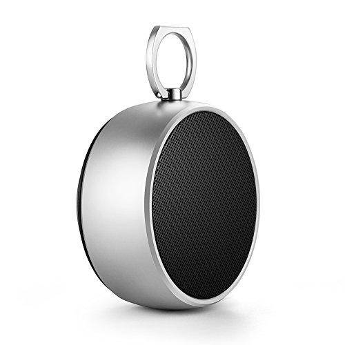 Popwinds Bluetooth Lautsprecher V2.1 + EDR tragbar Lautsprecher externen und eine Ausgangsleistung 3.2 W Stereo, kabellos, wiederaufladbar, integriert in die Smartphones und die Notebooks von Mikrofon (Silber)