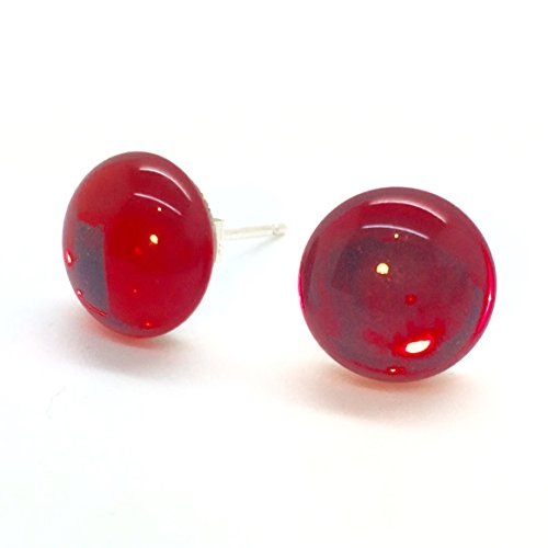 Vintage Rosso Rubino Vetro Specchio Shine Orecchini a perno in