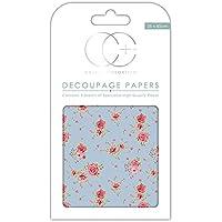 Craft consorcio papel para Decoupage, diseño de Premium–Vintage de rosas, color azul