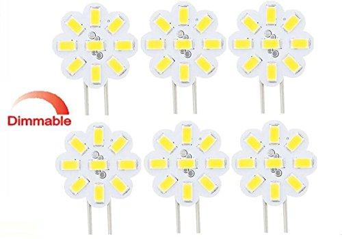 Best to buy®–Juego de 6G4LED 2W 12–24V AC/DC 9x 5630SMD 5000K, color blanco redonda regulable 120° a + +