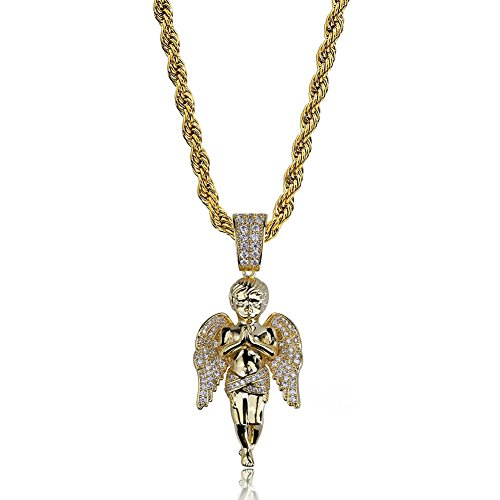 Unisex Gold Überzogene Hip Hop Kette Zirkon Beten Cherub Schutzengel Halskette Anhänger Für Männer Frauen Punk ()