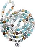 Tatuo 8 mm Mala Amazonite Halskette Armband Mala Halskette Perlen Natürlichen Edelstein Halskette mit...