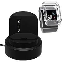 Base de carga para Fitbit Ionic con estuche protector, Reemplazo de la base de carga USB de AFUNTA y Cubierta resistente a los golpes de TPU para Smartwatch - Negro