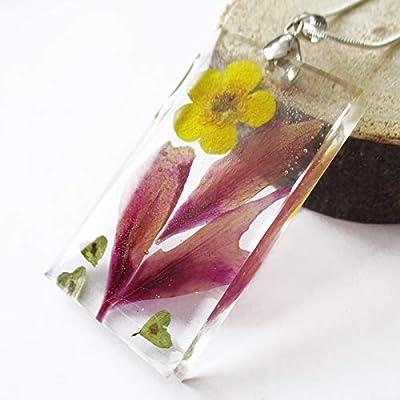 Pendentif nature Anémone en résine transparente, argetn sterling 925 et fleurs pressées - Bijou floral Collier en fleurs séchées colorées