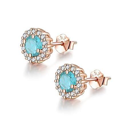 COLORFEY Round Light Blue Studs White Rose Gold Plated Sterling Silver Brazil Tourmaline Stone Earrings for Women Girls (Light Blue (Rose Gold))