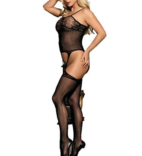 dy Open Crotch Fischnetz Bodystocking Net Schiere Dessous Bodysuit,Black_M ()