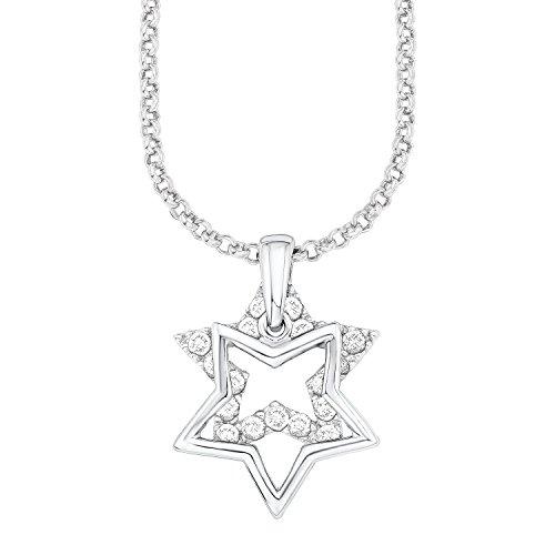 s. Oliver Damen-Kette mit Anhänger Sterne 925 Silber rhodiniert Zirkonia weiß Rundschliff 45 cm - 540292