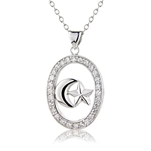 925 Sterling Silver chain with sun & moon pendant inlaid with Cubic Zirconia Stones, sent in a Charming Gift Box 7440