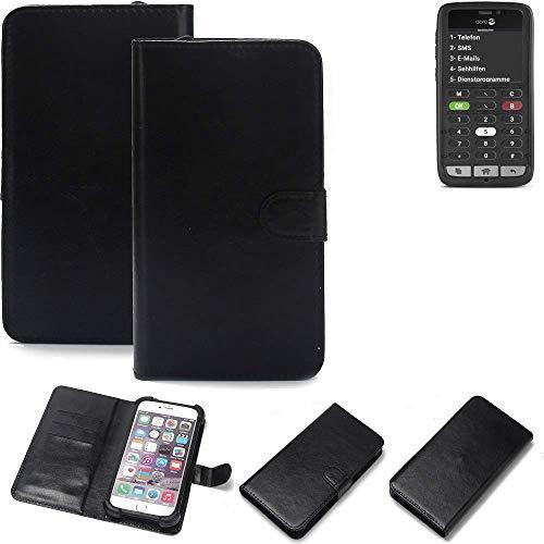 K-S-Trade® Wallet Case Handyhülle Für Doro 8031C Schutz Hülle Smartphone Flip Cover Flipstyle Tasche Schutzhülle Flipcover Slim Bumper Schwarz, 1x