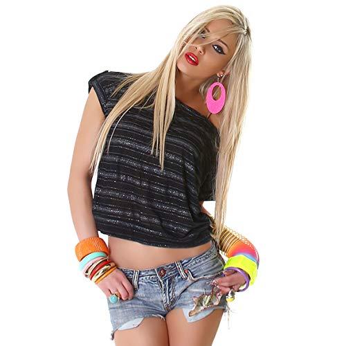 f4y Leichtes Damen Kurzarm Streifentop mit Glam-Effekt - Schwarz-Silber - Brusttasche und Turn-up-Zierlasche - Lurex Western Shirt