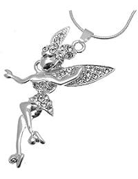 Acosta–cristal–cabeza de moda collar con móviles y alas de hadas, color plata