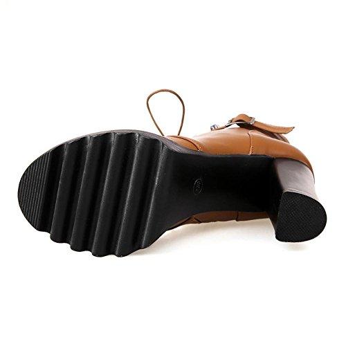 L@YC Scarpe da Donna Similpelle Autunno Inverno Stivali Chunky Heel Punta Tonda Fibbia a Metà Polpaccio per Abbigliamento Casual Red