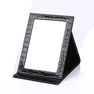 Rnow Deluxe PU Leather Desktop Large Makeup Cosmetics Personal Beauty Folding Mirrors - inexpensive UK light store.