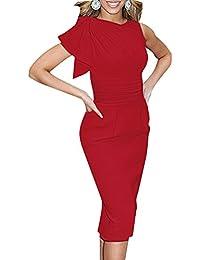 d60380512840 Guiran Donna Balze Senza Maniche Midi Abiti da Cerimonia Sera Cocktail  Vestito Aderente Rosso 2XL