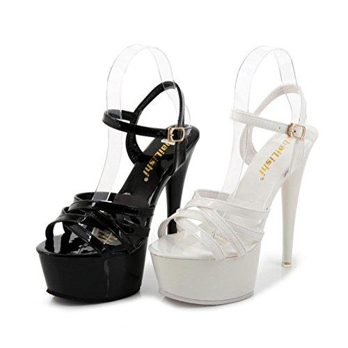 Heart&M Estate pelle verniciata 15CM alti talloni delle donne peep-toe Crossing cinghie sandali con le piattaforme Black