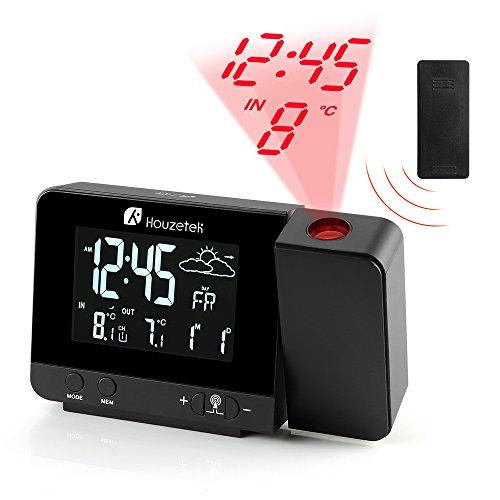 PROJEKTORUHR, Houzetek Projektionsuhr und Wecker mit Wetterstation, 2 Wecker mit einstellbarer Schlummerfunktion, Außen- und Innentemperatur, Vorhersagebarometer