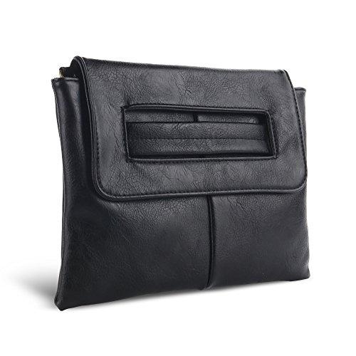 CAACOO Donna Sera Borsa a spalla Borsetta di Clutch Bag ed borse da spalla Nero