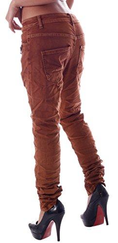 Damen Jeans Grosse Groessen Baggy Style Curvy Stylisch Star 4 Buttons 2 Zipper Rostbraun