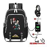 Cosstars My Hero Academia Anime Backpack Sac à Dos pour Ordinateur Portable avec Port de Chargement USB et Prise Casque /7