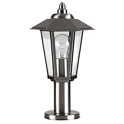 Contemporary Victorian Style Silver Stainless Steel Outdoor Garden Lamp Post Top Lantern Light - IP44 Rated