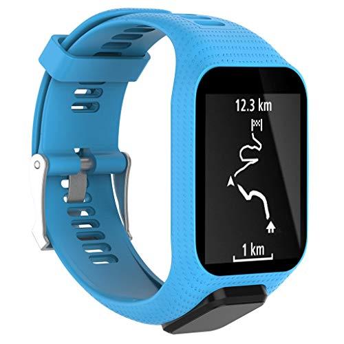 Waotier für Tomtom Runner 3 Armband mit Gehäuse Schutzhülle Silikon Armband Kompatibel für Tomtom runner3 Golfer2 Spark3 Spark Cardio Armband mit Edelstahl Verschluss (Blau)