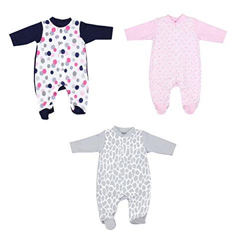 Baby Schlafoverall Mädchen Schlafanzug Jungen Schlafstrampler 100% Baumwolle Nachtwäsche im 3er PACK, Farbe: Mädchen 2, Größe: 68