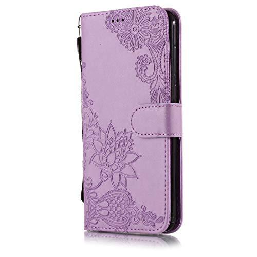 Beddouuk LG K8 2018 Hülle,Retro Lace Floral Muster Design PU Leder Ständer Flip Cover mit Karte Halter Brieftasche Wallet Bookstyle Folio Ledertasche Handyhülle-A-Lila