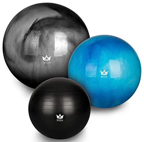 ZenBall Gymnastikball 65 cm inkl. Luftpumpe & Maßband I Premium Sitzball mit Gratis E-Book & Workout-Guide I Balance Ball für Reha, Sport, Büro, Yoga und eine aufrechte Haltung (Beautiful Blue) - Kissen Zu Hause Für Aufblasbare