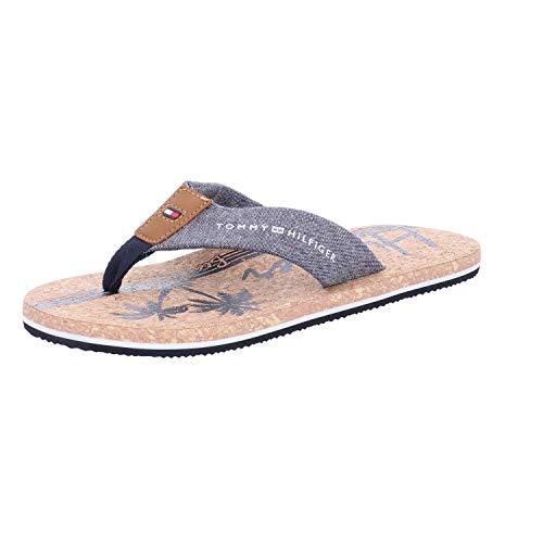 Plattform-flip-flop-sandalen (Tommy Hilfiger Herren Chambray Beach Sandal Zehentrenner, Blau (Midnight 403), 43 EU)