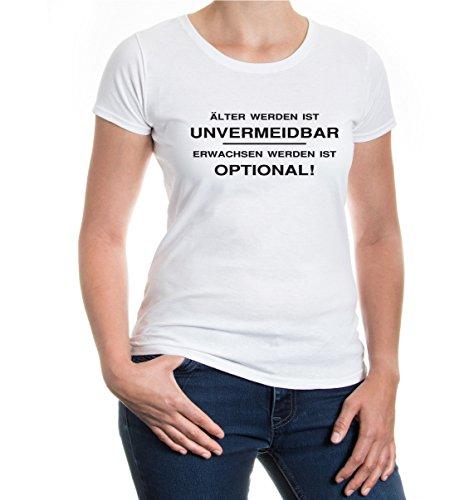 buXsbaum® Girlie T-Shirt Älter werden ist unvermeidbar, Erwachsen werden optional White-Black