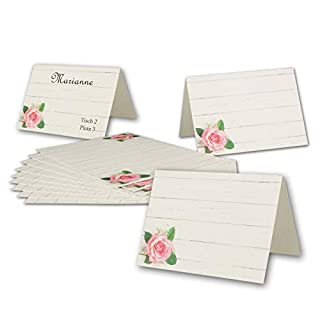 Paper24 Place Cards with Rose DIN A7 Folding Cards 7.4 x 10.5 cm Front and Back – Name Tags for Parties, Birthday, Wedding, Christening of Your Glüxx Agent