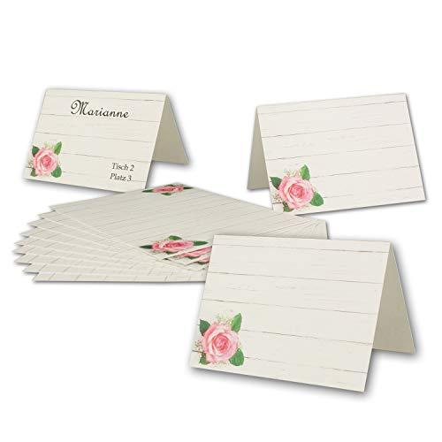 50 Tisch-Karten Rose DIN A7 - Falt-Karten 7,4 x 10,5 cm bedruckbar - Namens-Kärtchen für Feste, Geburtstag, Hochzeit, Taufe - von Ihrem Glüxx-Agent