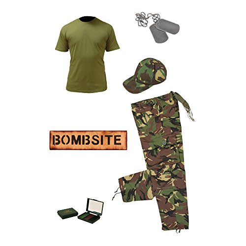 Kids Pack 7/Camo Hosen, Baseball GAP. Olive T-Shirt, camo creme, Dog Tags mit Kette und Holz bombsite Türschild (Holz-camo-t-shirt)