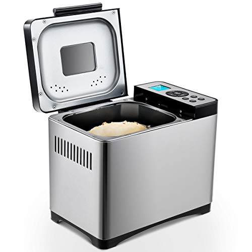 DREAMADE Brotbackautomat aus Edelstahl, Brotbackmaschine Brotbäcker mit 19 Backprogramme, Backmeister mit komplettem Zubehör