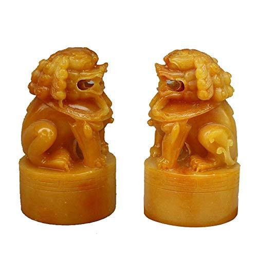 EIN Paar Shoushan Stein Peking Löwen Paar Fu FOO Hunde Statuen Wächter, chinesische Feng Shui Dekor, für Haus und Büro, Reichtum und viel Glück anziehen - Outdoor-löwen-statuen