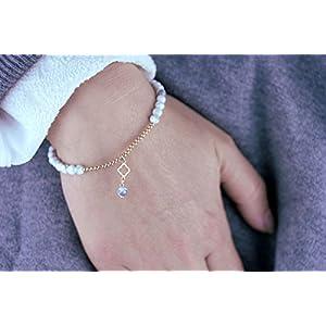 Armband Magnesit Rosegold, 925 Silber