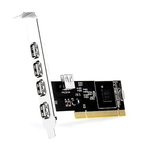 CSL - Carte contrôleur / interface 4+1 ports (5 ports) USB 2.0 PCI   1x interne4x externe  Processeur NEC   Plug & Play   Windows 10