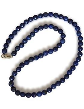 Lapislazuli Kette, natürlicher Lapislazuli, dunkelblau, rund, facettiert, 6mm