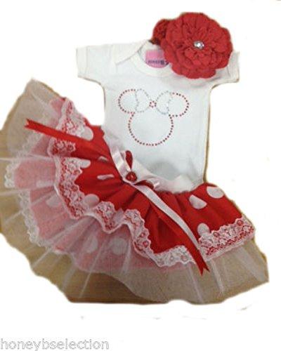 Sparkle Baby Grow & Tutu Set With Headband Minnie Mouse Polkadot Costume (3-6 months, White) Sparkle Tutu