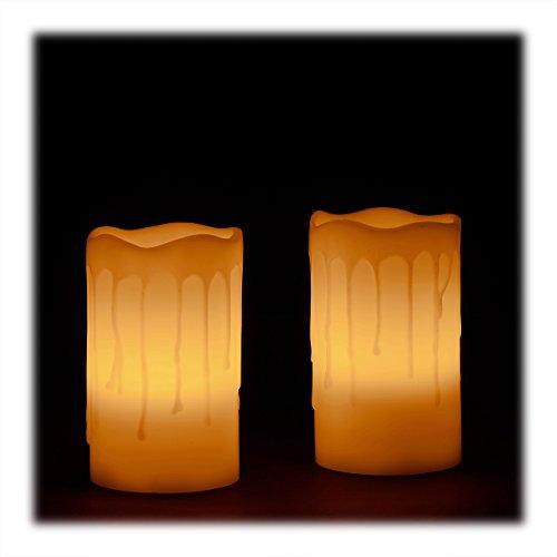 Relaxdays LED Kerzen Echtwachs Set, 2 elektrische Kerzen flammenlos, flackernd, Batterie, HxBxT: 13 x 8 x 8 cm, creme
