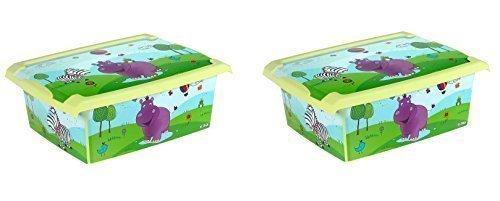 2 x Caja de juguetes Caja juegos Caja caja de la manera Hipopótamo 10 L