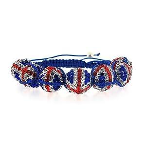 Bracelet de Boules Disco au Motif du Drapeau d'Angleterre par La Olivia Collection