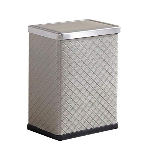 HUACANG Kunst Mülleimer Aus Leder Quadratischer Altpapierfaß Aus Edelstahl Schlafzimmer Küche Wohnzimmer Küche Papierkorb Öffnen (Papierkorb Edelstahl öffnen)
